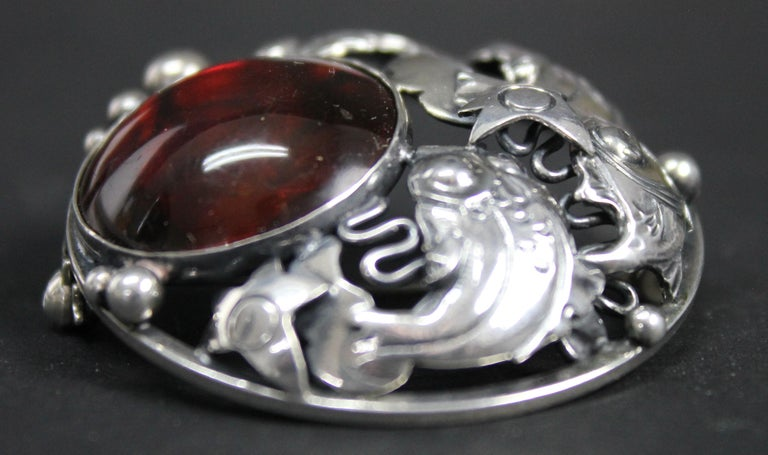 Niels Erik From Danish Modernist Brooch Sterling Silver and Amber For Sale 4