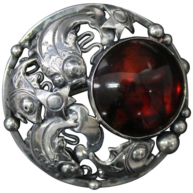 Niels Erik From Danish Modernist Brooch Sterling Silver and Amber For Sale