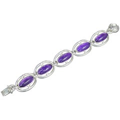 Niels Erik From, Denmark, Modernist Bracelet in Sterling Silver and Amethysts