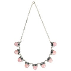 Niels Erik From, Scandinavian Modernist Necklace in Silver and Rose Quartz