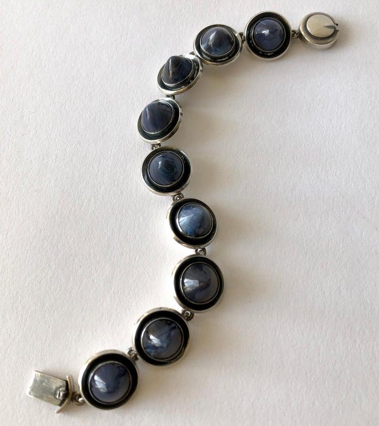 Bead Niels Erik From Sterling Silver Banded Blue Agate Danish Modernist Bracelet For Sale