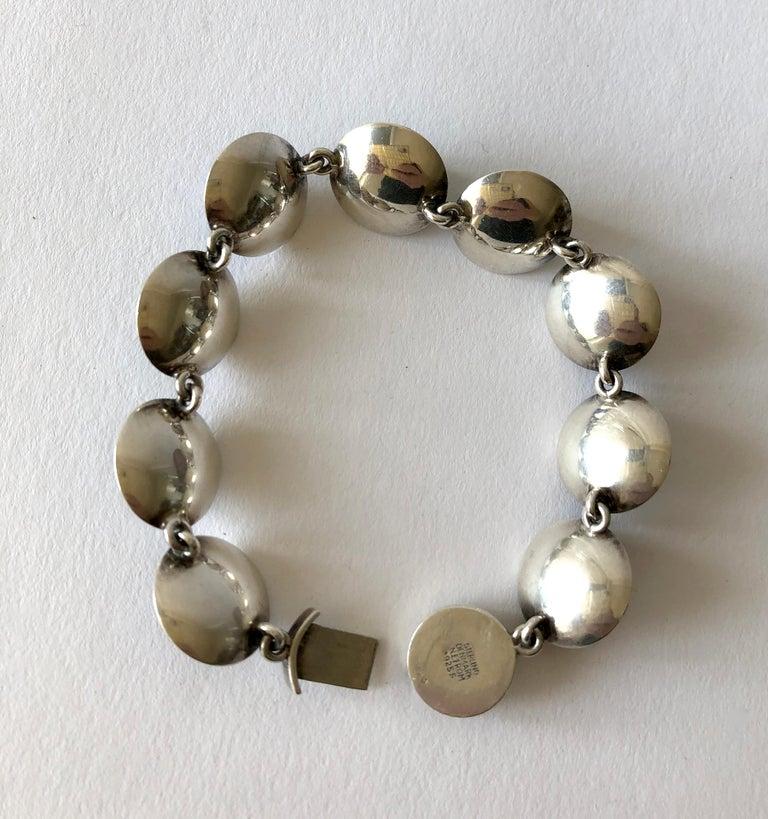 Niels Erik From Sterling Silver Banded Blue Agate Danish Modernist Bracelet For Sale 1