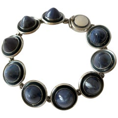 Niels Erik From Sterling Silver Banded Blue Agate Danish Modernist Bracelet