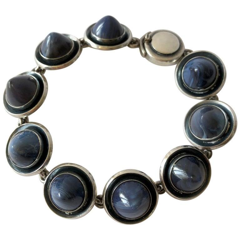 Niels Erik From Sterling Silver Banded Blue Agate Danish Modernist Bracelet For Sale