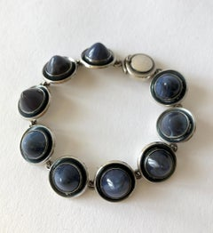 Niels Erik From Sterling Silver Banded Blue Agate Danish Modernist Bracelet