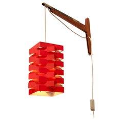 Niels Esmann & Hans C. Jensen Geometric Red Pendant Wall Light, Denmark, 1960s