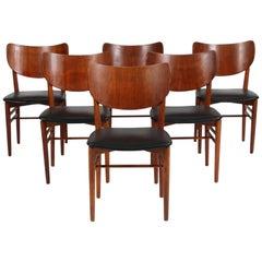 Niels & Eva Koppel Set of Six Chairs in Oak and Teak, Black Leather, 1950s