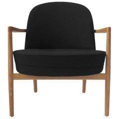 Niels Gammelgaard, Round Chair, Oak Frame Lounge Chair, Black Armchair