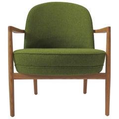 Niels Gammelgaard, Round Chair, Oak Frame Lounge Chair, Green Armchair