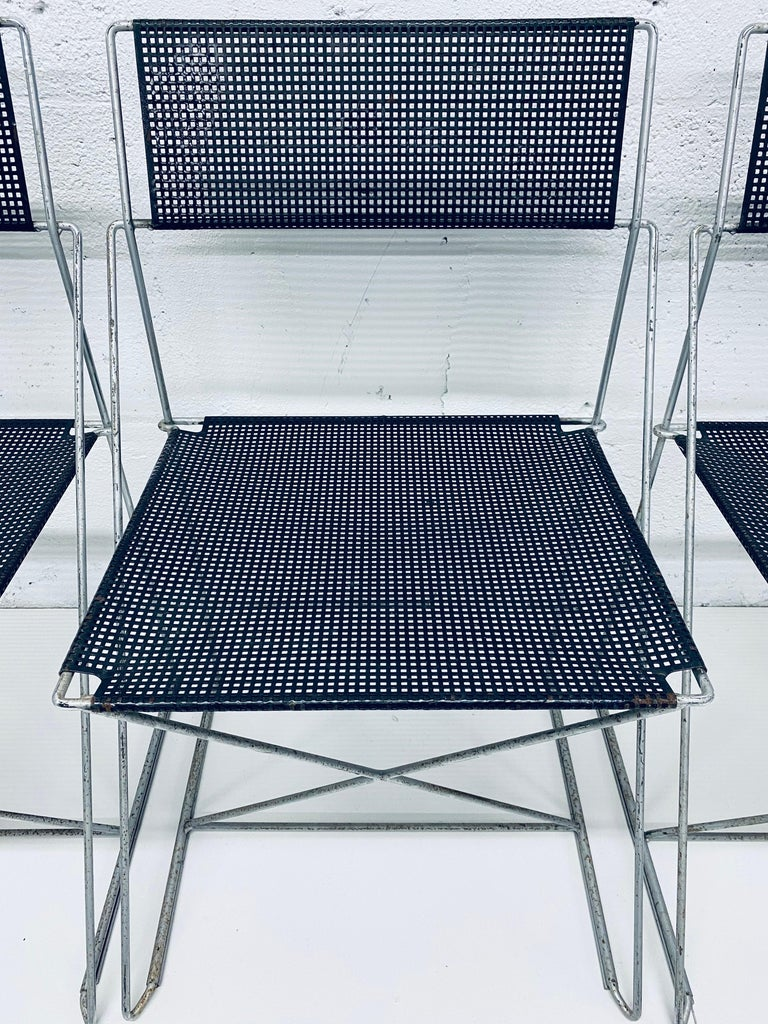 Niels Jorgen Haugesen Chairs with Perforated Metal Seats for Magis, Set of Six For Sale 3