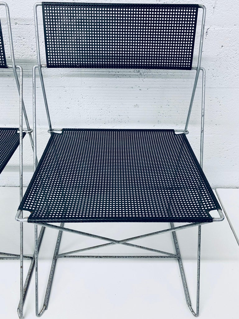 Niels Jorgen Haugesen Chairs with Perforated Metal Seats for Magis, Set of Six For Sale 5