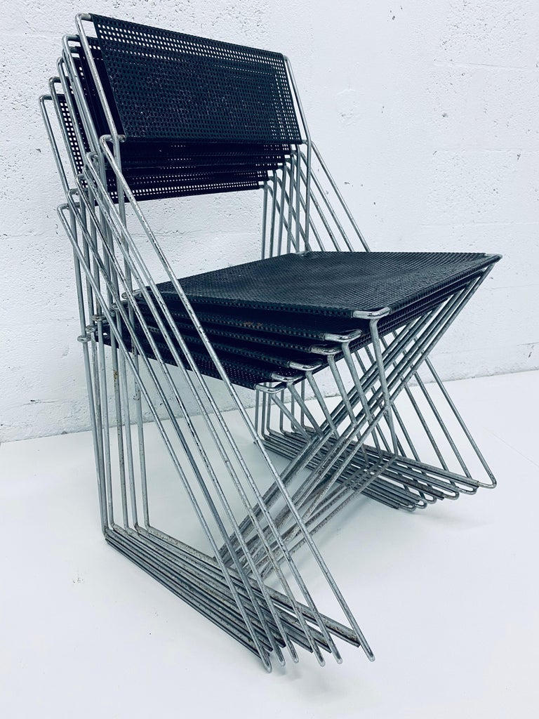 Niels Jorgen Haugesen Chairs with Perforated Metal Seats for Magis, Set of Six For Sale 9