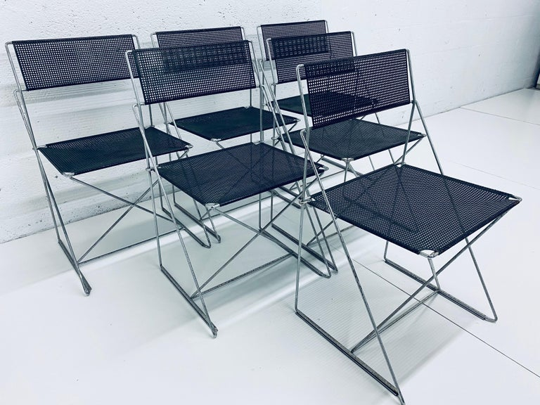 Post-Modern Niels Jorgen Haugesen Chairs with Perforated Metal Seats for Magis, Set of Six For Sale