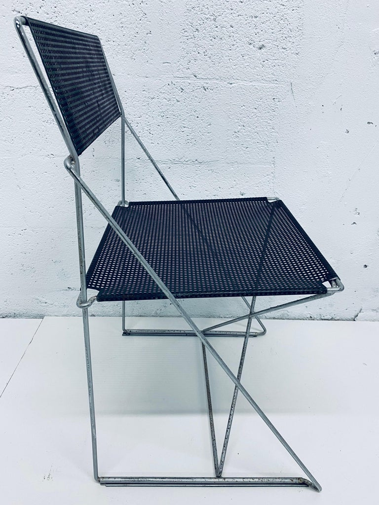Danish Niels Jorgen Haugesen Chairs with Perforated Metal Seats for Magis, Set of Six For Sale