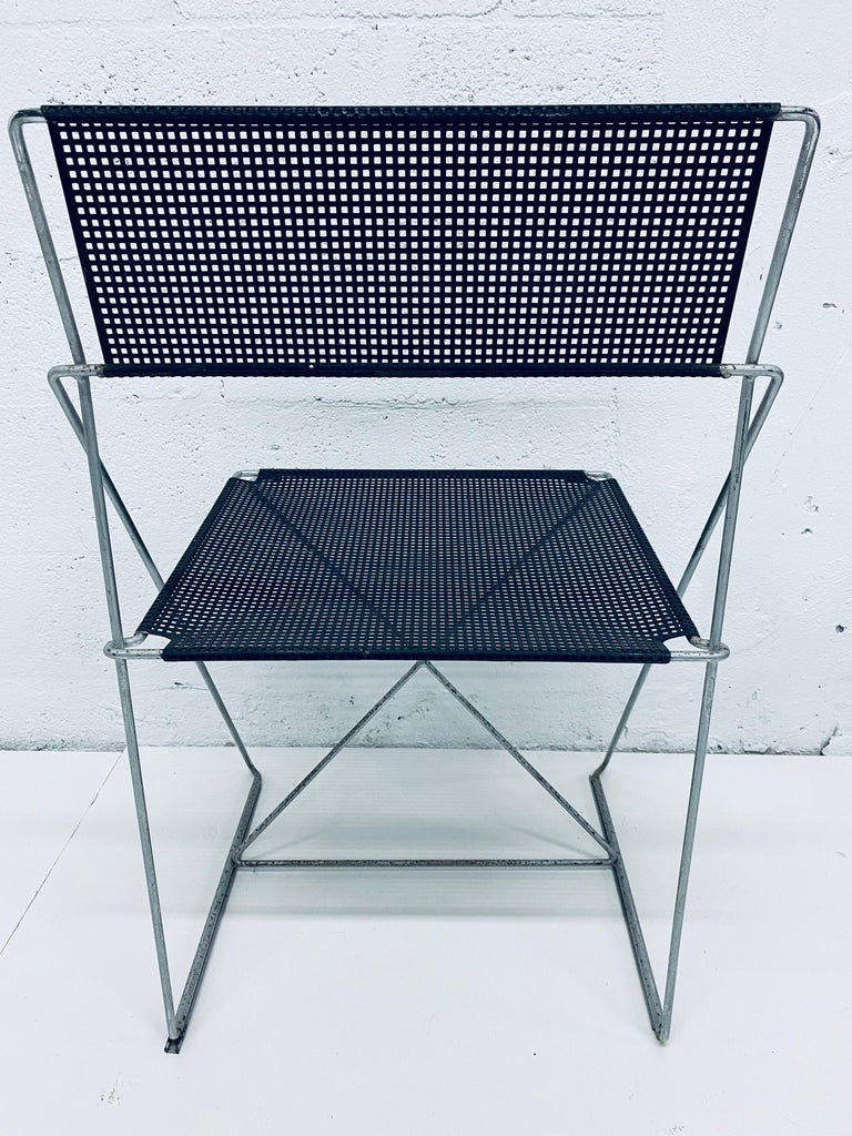 Niels Jorgen Haugesen Chairs with Perforated Metal Seats for Magis, Set of Six In Fair Condition For Sale In Miami, FL