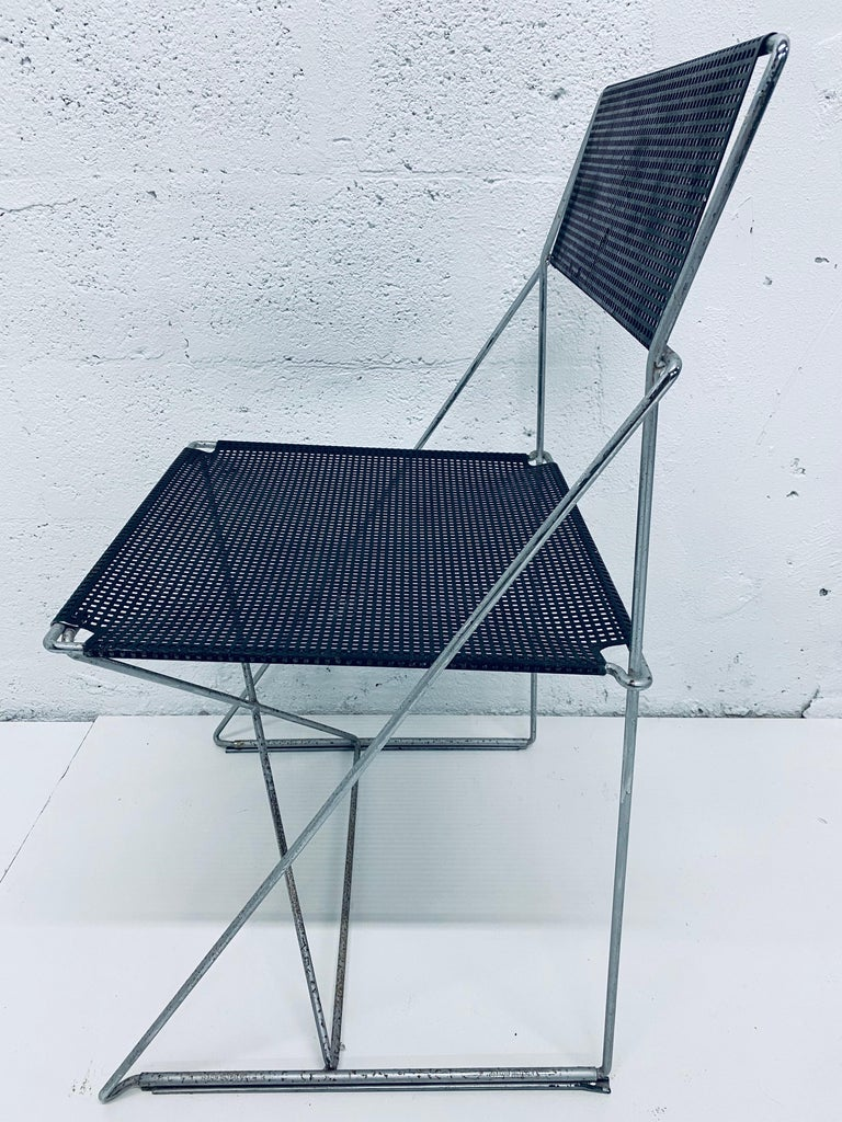 Late 20th Century Niels Jorgen Haugesen Chairs with Perforated Metal Seats for Magis, Set of Six For Sale