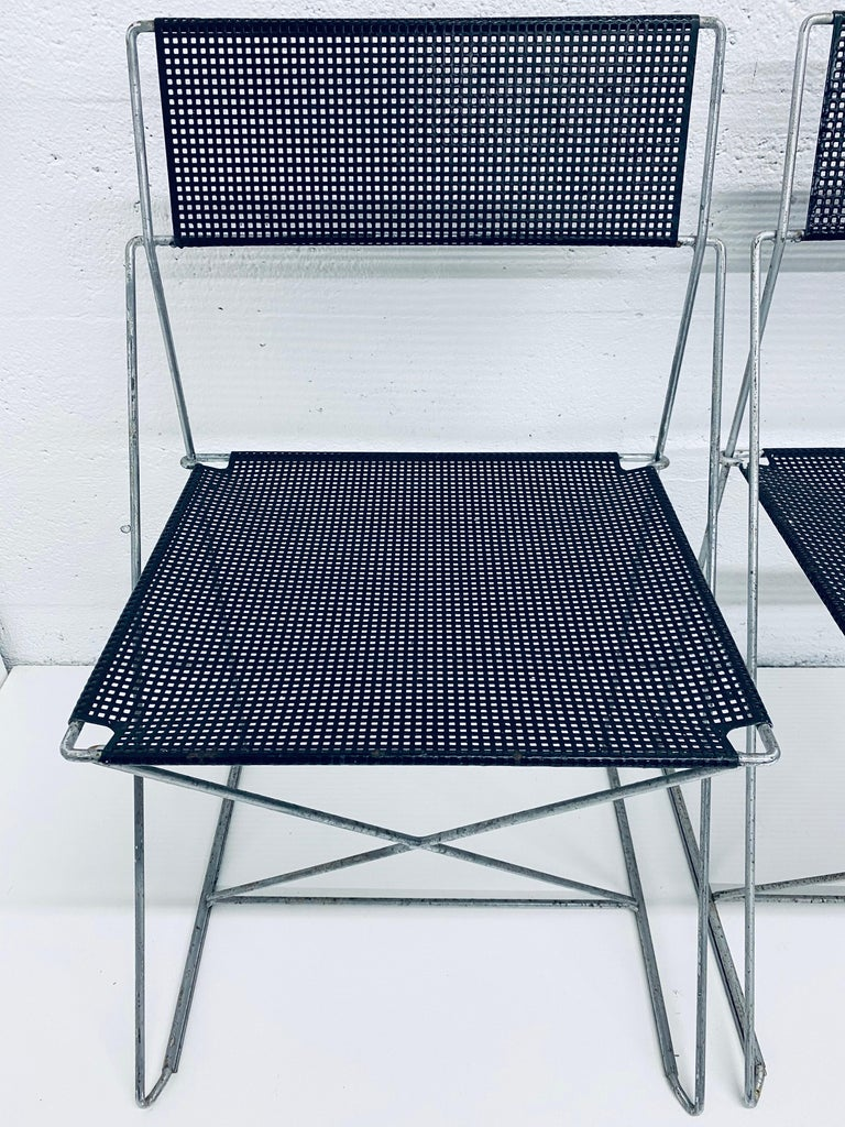 Steel Niels Jorgen Haugesen Chairs with Perforated Metal Seats for Magis, Set of Six For Sale