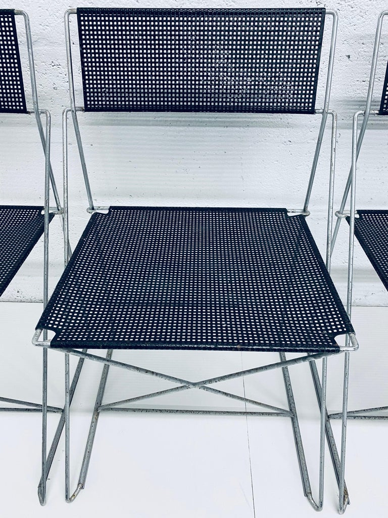 Niels Jorgen Haugesen Chairs with Perforated Metal Seats for Magis, Set of Six For Sale 1