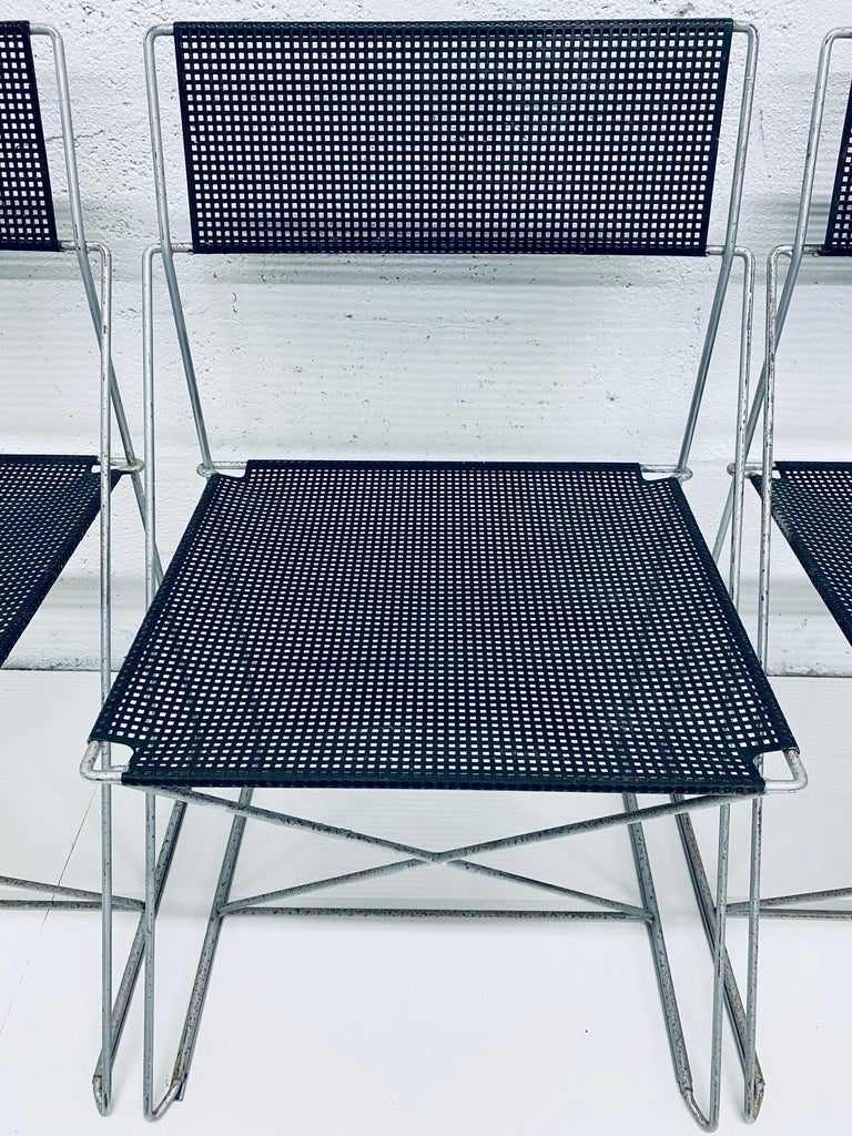 Niels Jorgen Haugesen Chairs with Perforated Metal Seats for Magis, Set of Six For Sale 2