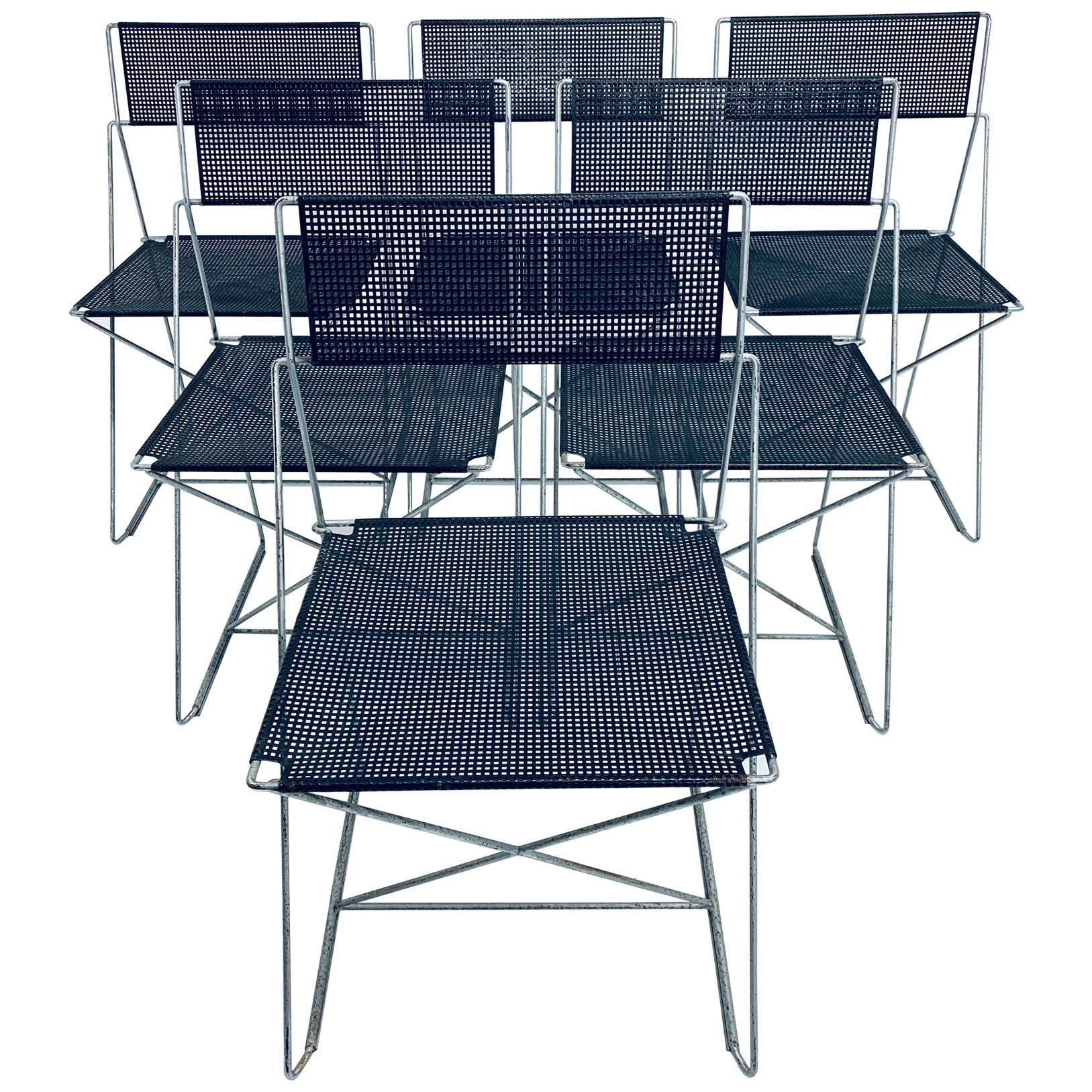Niels Jorgen Haugesen Chairs with Perforated Metal Seats for Magis, Set of Six