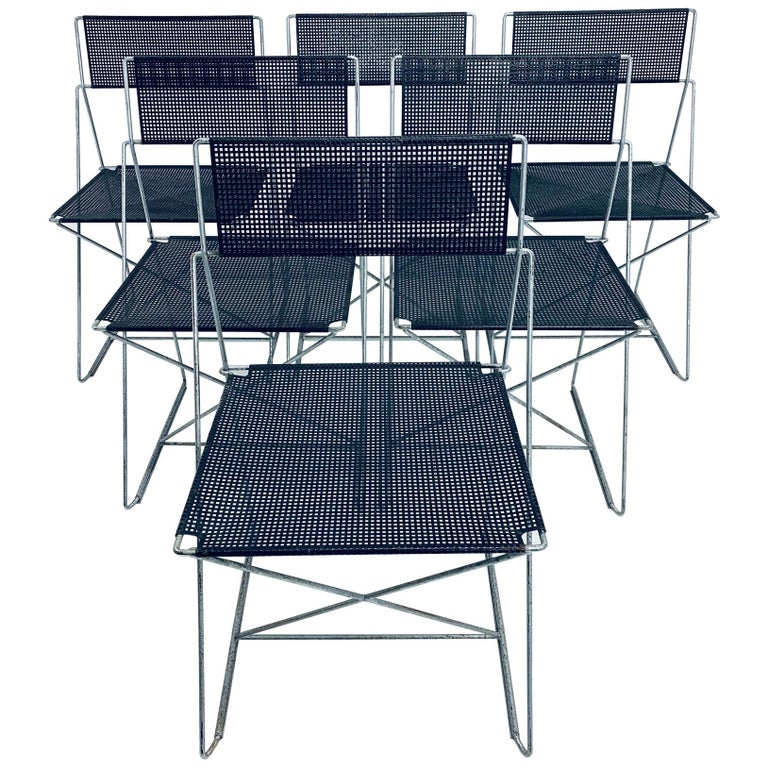 Niels Jorgen Haugesen Chairs with Perforated Metal Seats for Magis, Set of Six For Sale