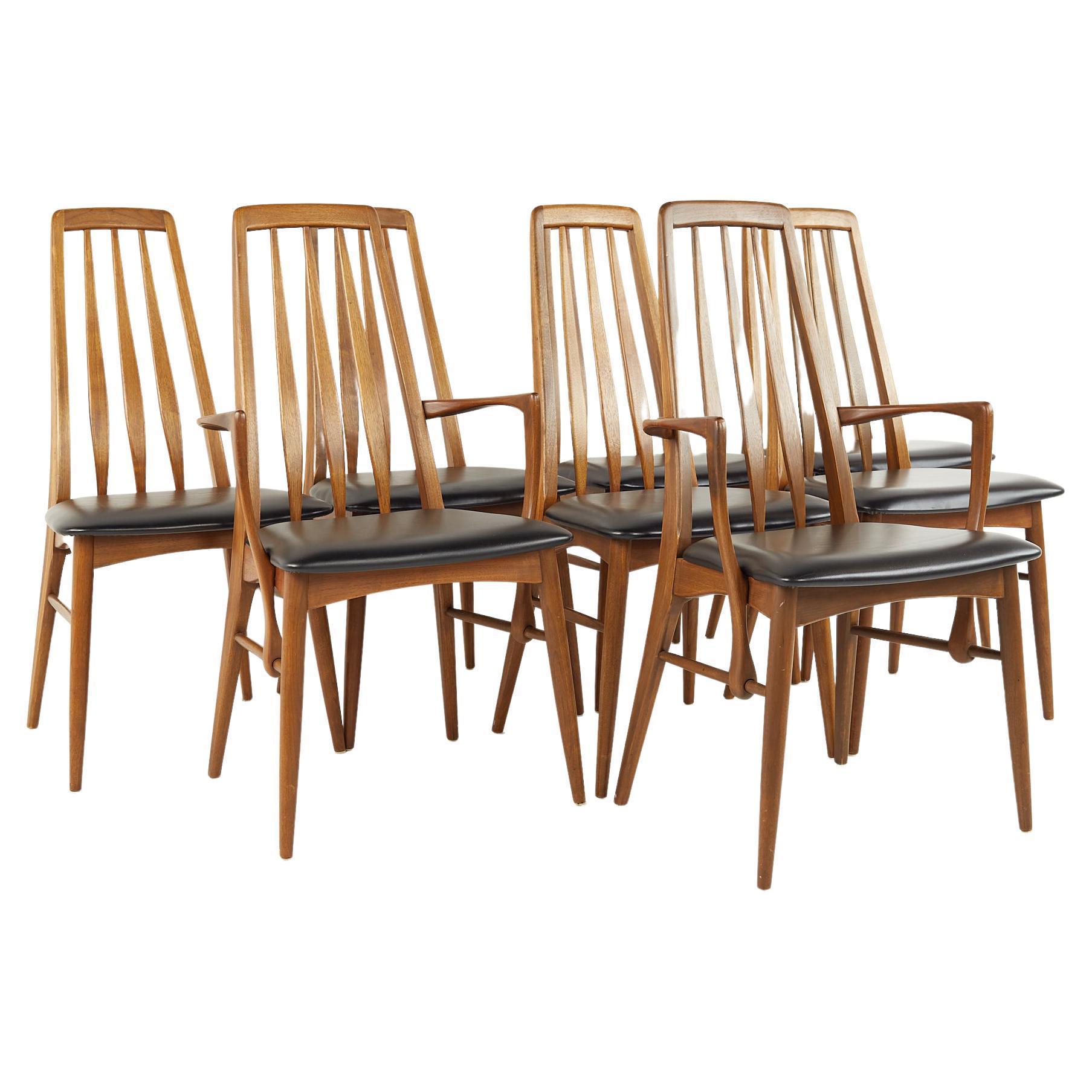 Niels Koefoed Eva Mid Century Teak Dining Chairs, Set of 8