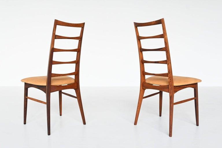 Niels Koefoed Model Lis Rosewood Dining Chairs Denmark 1961 4