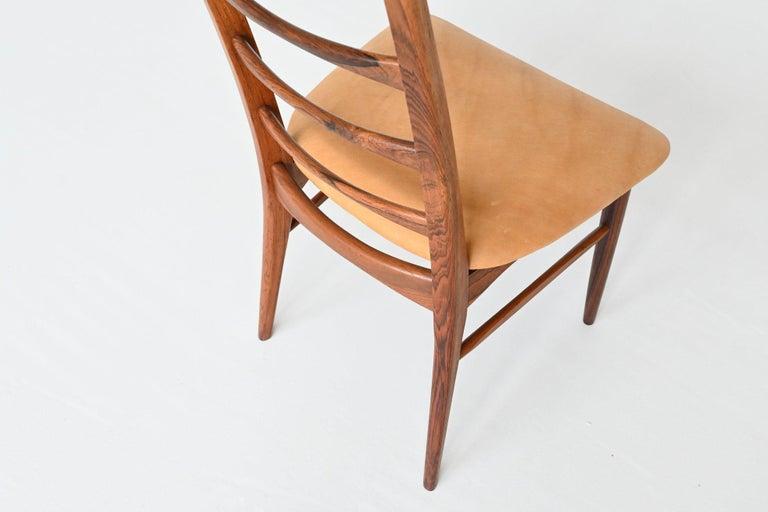 Niels Koefoed Model Lis Rosewood Dining Chairs Denmark 1961 6