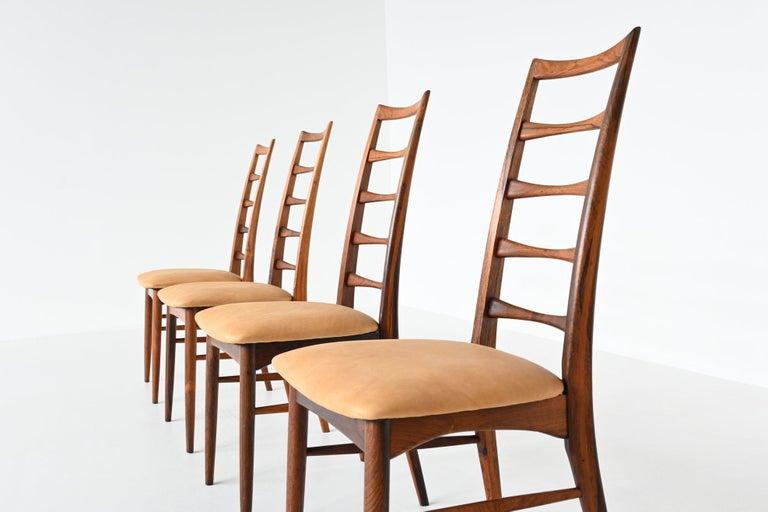Mid-Century Modern Niels Koefoed Model Lis Rosewood Dining Chairs Denmark 1961