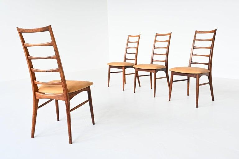 Danish Niels Koefoed Model Lis Rosewood Dining Chairs Denmark 1961