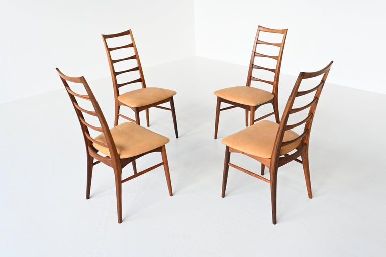 Leather Niels Koefoed Model Lis Rosewood Dining Chairs Denmark 1961