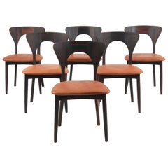 Niels Koefoed Set of Six Dining Chairs, Model Peter, Massive Rosewood, 1960s