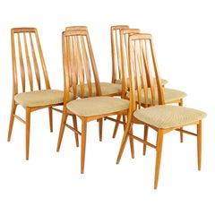 Niels Koefoeds Hornslet Mid Century Eva Teak Dining Chairs, Set of 6
