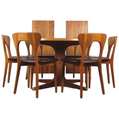 Niels Kofoed, 6 Chairs and Dining Table, Model Peter, Teak, Brown Leather