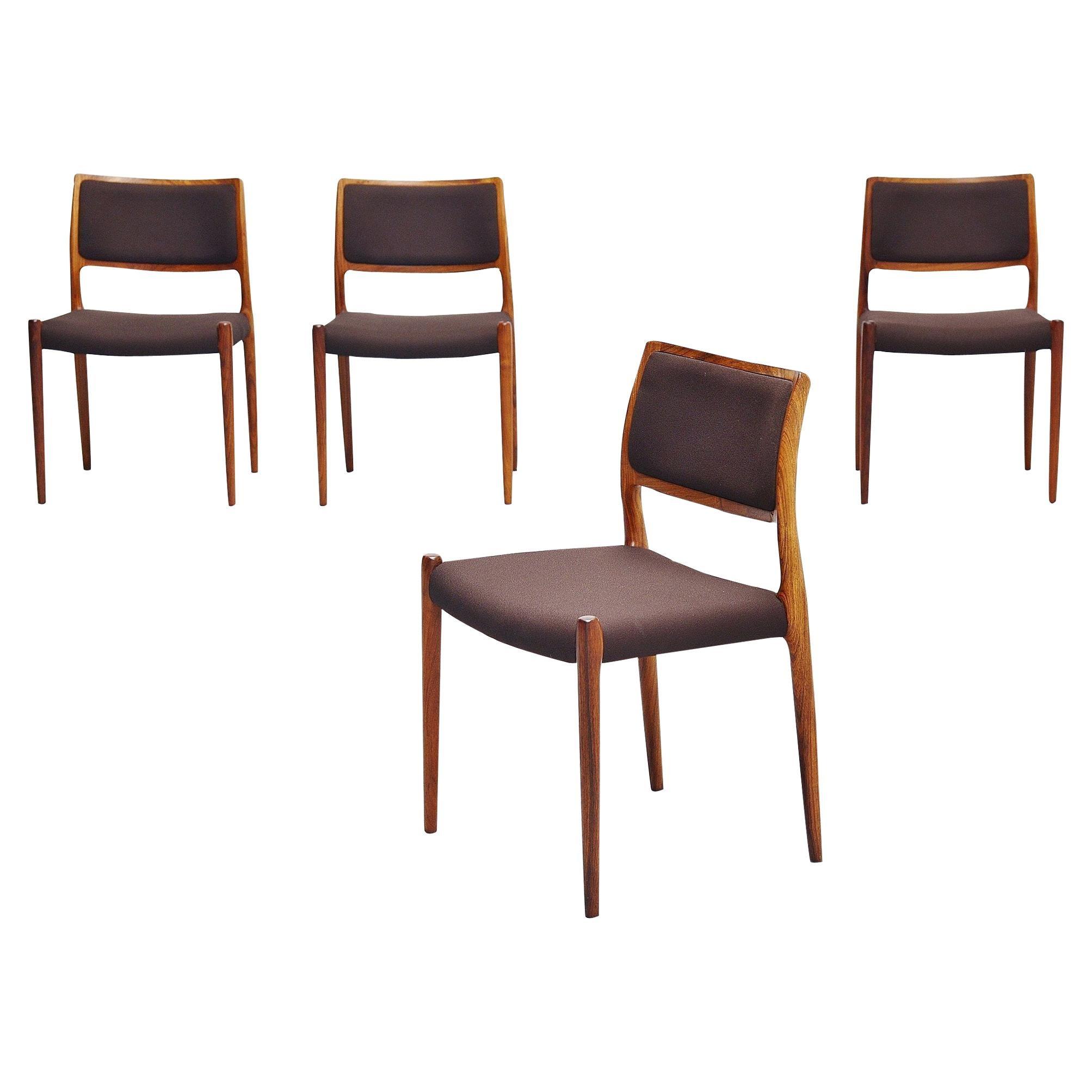 Niels Møller Model 80 Dining Chairs Rosewood, Denmark, 1968