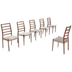 Niels Møller Model 82 Danish Rosewood Dining Chairs, circa 1970