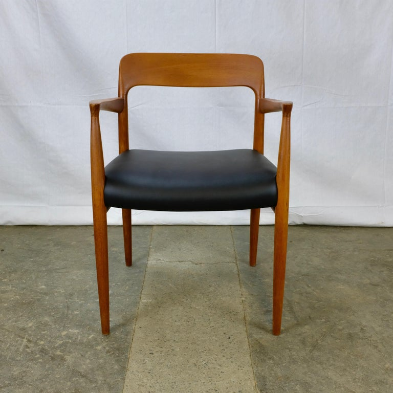 Danish Niels Møller No. 56 Armchair in Teak and Black Leatherette For Sale