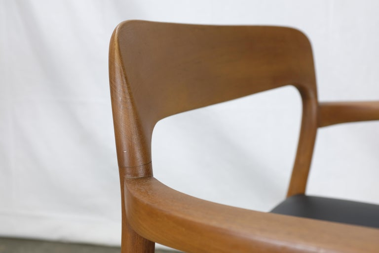 Niels Møller No. 56 Armchair in Teak and Black Leatherette For Sale 1