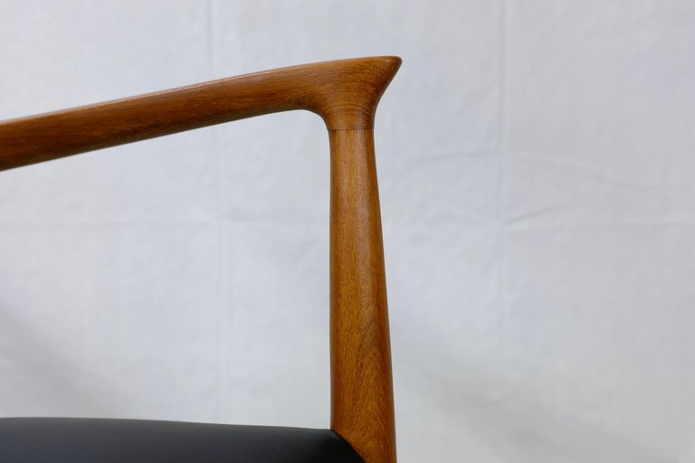 Niels Møller No. 56 Armchair in Teak and Black Leatherette For Sale 3