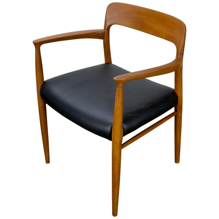 Niels Møller No. 56 Armchair in Teak and Black Leatherette For Sale