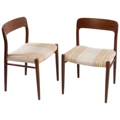 Niels Möller for J.L. Möllers Style Modell 75 Danish Teak Dining Chairs, Pair