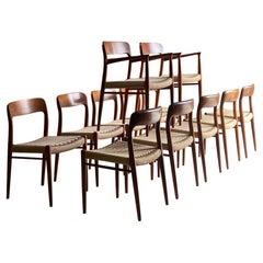 Niels Moller Model 56 & Model 75 Teak & Paper Cord Dining Chairs Set of 12, 1960