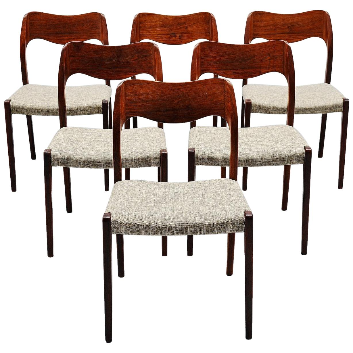 Niels Moller Model 71 Rosewood Dining Chairs 6, Denmark, 1951