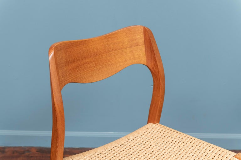 Niels Møller teak model 71 dining chairs, wonderful vintage condition with woven Danish cord seats, stamped.