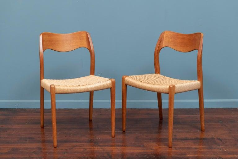 Scandinavian Modern Niels Møller Model 71 Teak Dining Chairs For Sale