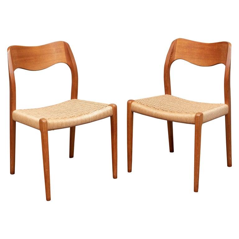 Niels Møller Model 71 Teak Dining Chairs For Sale