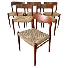 Niels Möller Model 75 Danish Teak Dining Chairs for J.L. Möllers, Set of 6
