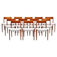 Niels Moller Model 77 Dining Chairs Teak Bouclé, Denmark, 1959