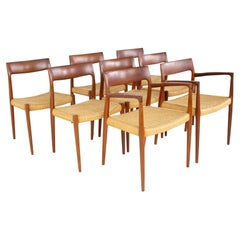 Niels Moller Model 77 Mid Century Teak Roped Dining Chairs, Set of 8