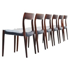 Niels Moller Model 77 Rosewood Dining Chairs, Denmark, 1959
